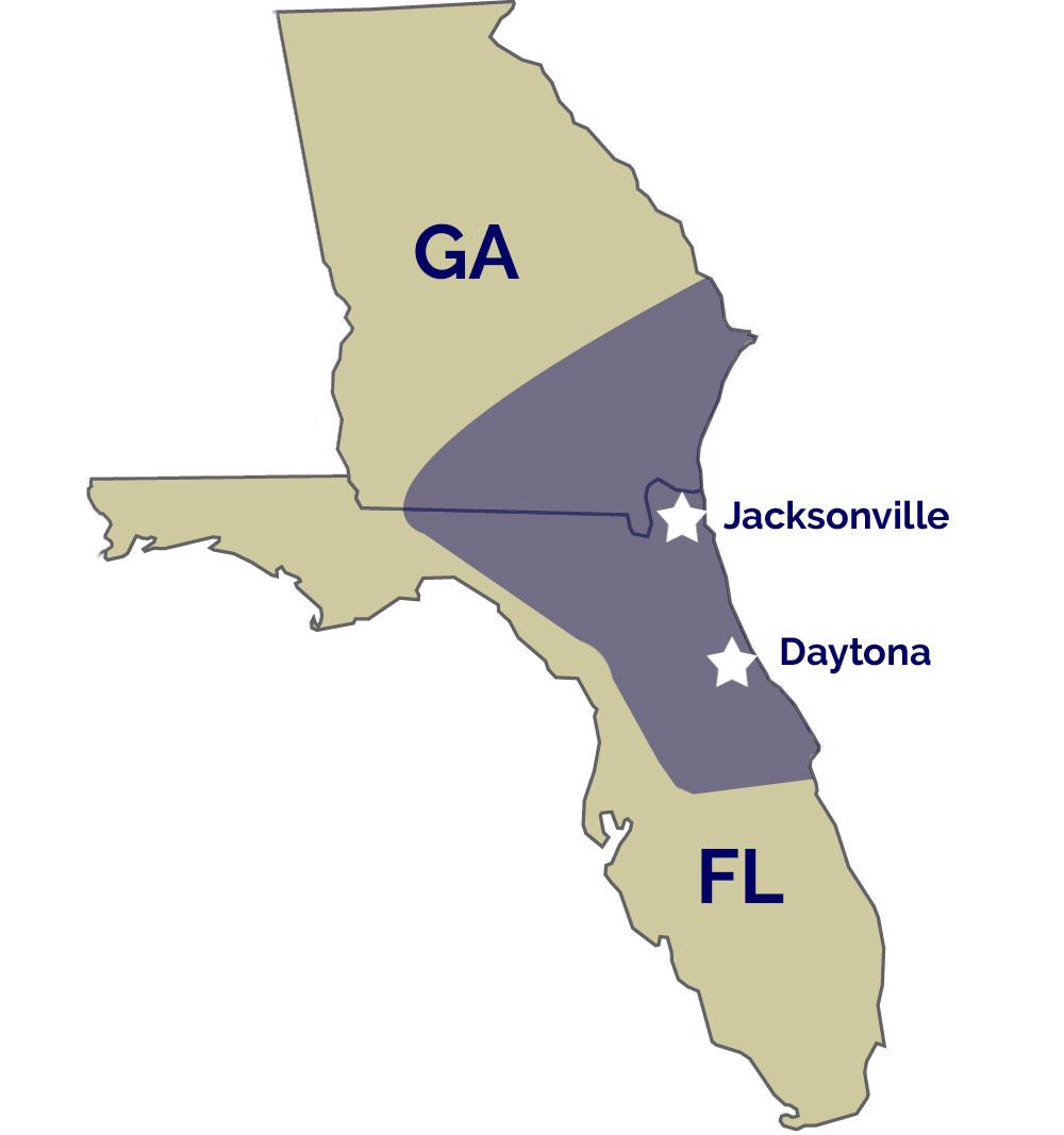 Florida - Georgia Chiller Service Area Map